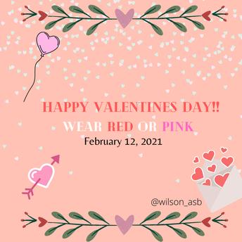 Spirit Day Next Friday For Valentine's Day!