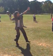 "Mrs. Kerns showing us her ""Buckeye"" Skills"