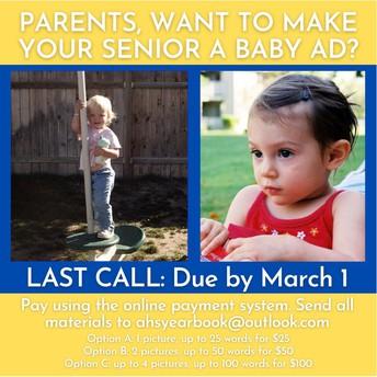 Senior Baby Ads Due March 1