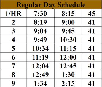 Regular Day Schedule