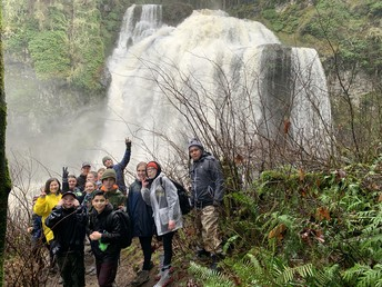 Kids in front of Mashell Falls