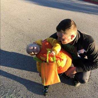 Coach Stewart shares the fun with his Little Pumpkin
