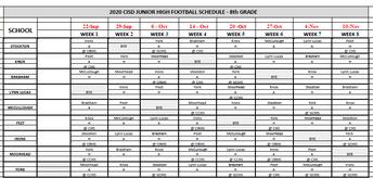8th Grade Football Schedule