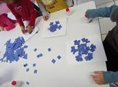 Make scraps into snowflakes