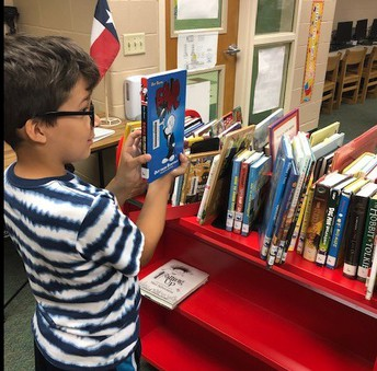 Boy selecting a book