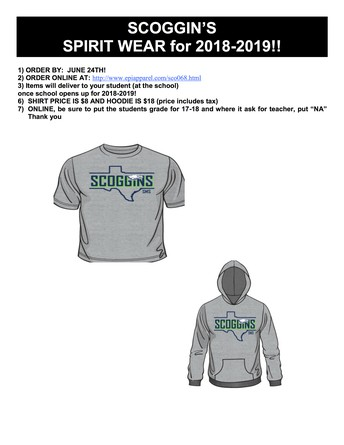 Order Your New Spirit Wear for 2018-19 Now