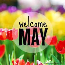 Image Welcome May - Tulips of red, yellow, and purple.