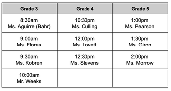 Grades 3 - 5 Thursday, October 22, 2020