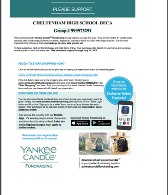 CHS DECA Yankee Candle Fundraiser