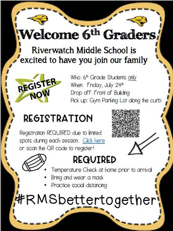 6th Graders . . .We can't wait to welcome you!