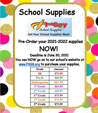 1st School Supplies-Deadline June 30, 2021 ORDER ON-LINE