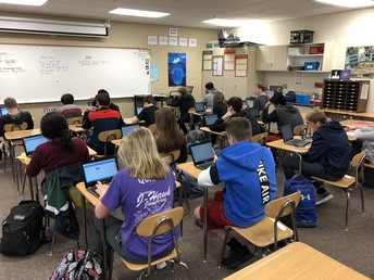 Students assessing in math class