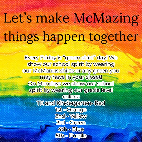 Rainbow colored background with description of spirit days