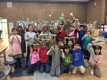 Mr. Brueckner's 2nd graders celebrate filling their marble jar by making slime!