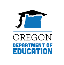 Logo for Oregon Department of Education, an outline of the state of Oregon wearing a graduation mortarboard.