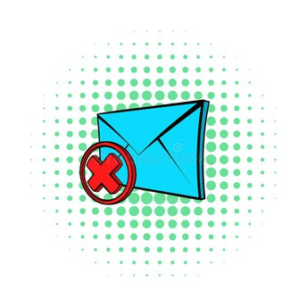 graphic of envelope with large red X over it