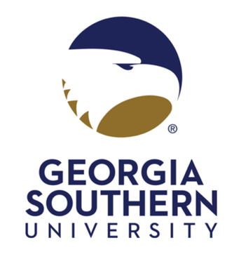 Georgia Southern University logo, a blue and gold eagle head outline.
