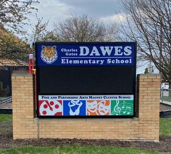 New School Sign at Dawes!