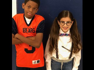 Sixth grade students all dressed up for Mathlete v. Athlete Day