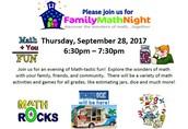 Thursday, September 28 Family Math Night!