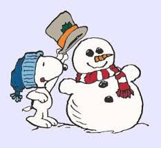 Snoopy putting top hat on snowman