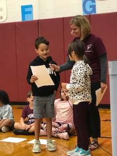 "Second grade ""Announcers"" at our Assembly"