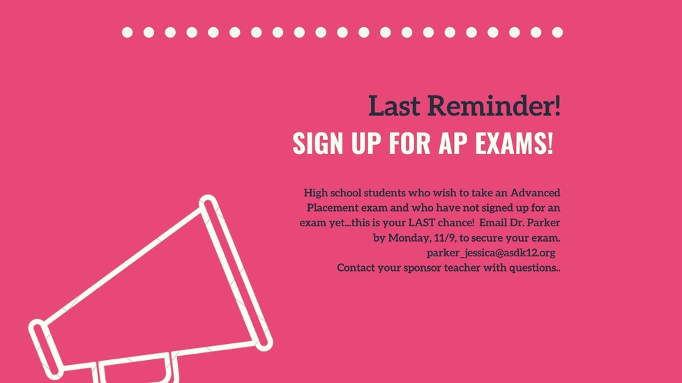 AP Exam reminder