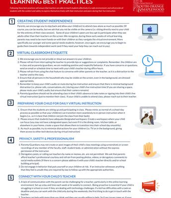 """Parent/Guardian Virtual Instruction """"Best Practices"""""""