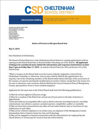 Open School Board Seat Notification & Application Process