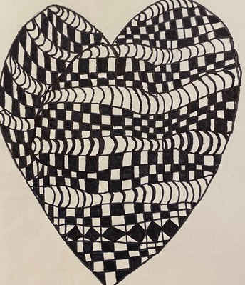 black and white checkered heart drawing