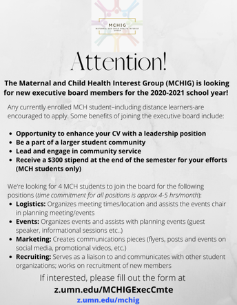 Paid Opportunity! Four MCHIG Executive Committee Members Needed (due 8.31.20)