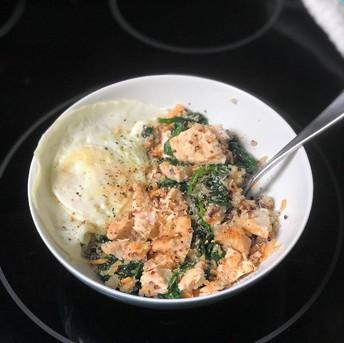 Chicken, Egg, Spinach & Quinoa (recipe by Michelle Stewart)