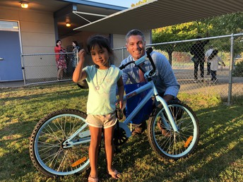 Back to School Night Raffle Winner!  Thank you Google for the bikes!