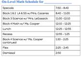 On-Level Math Schedule