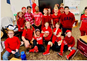 Skittle Day- 5th grade wore as much red as possible