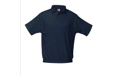 Dark Navy Banded Bottom Polo with Logo- Short Sleeve
