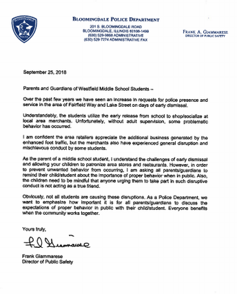 A Letter from the Bloomingdale Police Department