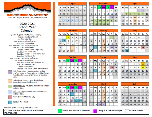 Link to calendar on Rainier School website