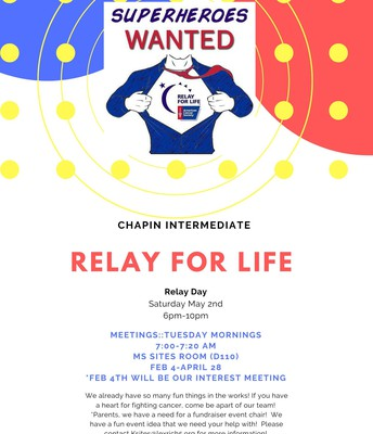 Relay for Life is Saturday, May 2nd, 6-10 PM