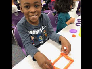 Building shapes in Pre-Kindergarten.