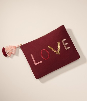 Embroidered Love Pouch