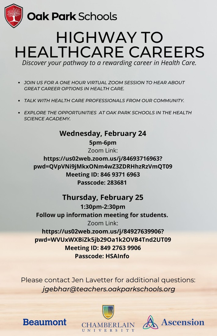 JOIN US WEDNESDAY, FEBRUARY 24 FOR HIGHWAY TO HEALTH CARE CAREERS