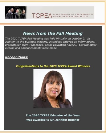 Dr. Jennifer Butcher - TCPEA 2020 Educator of the Year