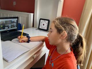 Journal writing during a Google Meet