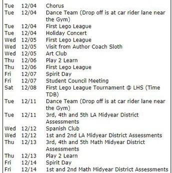 December Reminders
