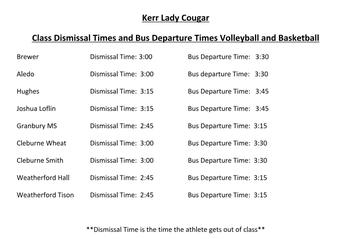 KERR Volleyball & Basketball Dismissal Times
