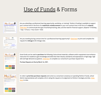 Perkins V Use of Funds & FORMS