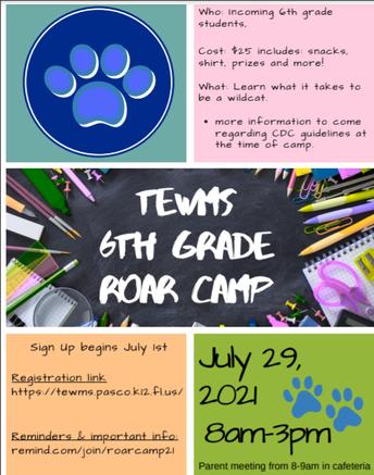 6th grade ROAR Camp