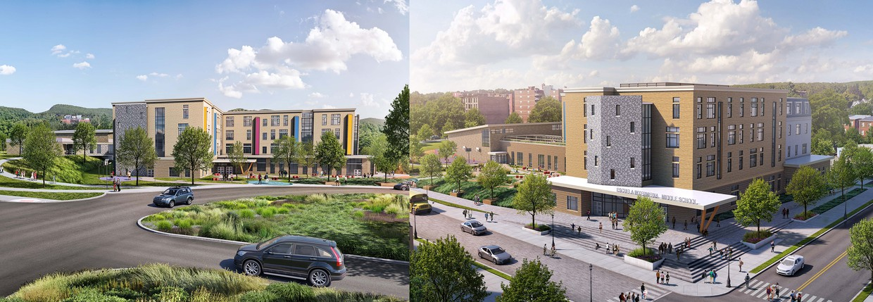 Mock image of the two new proposed middle school buildings.