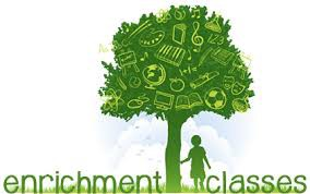 "Picture that says ""Enrichment Classes"" with a child under a tree"